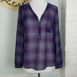 Merona sheer plaid blouse